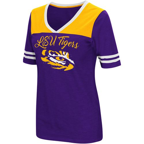 Colosseum Athletics Women's Louisiana State University Twist 2.1 V-Neck T-shirt