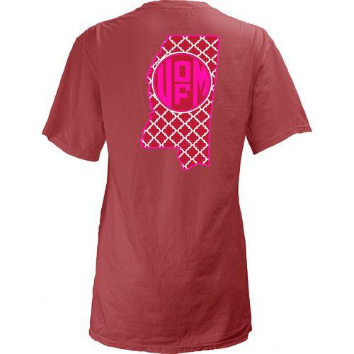 Three Squared Juniors' University of Mississippi Quatrefoil State Monogram T-shirt