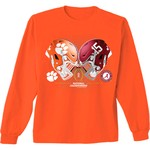 New World Graphics Men's Clemson vs. Alabama Dueling Helmets T-shirt