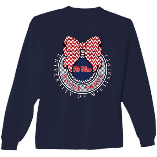 New World Graphics Women's University of Mississippi Ribbon Bow Shirt