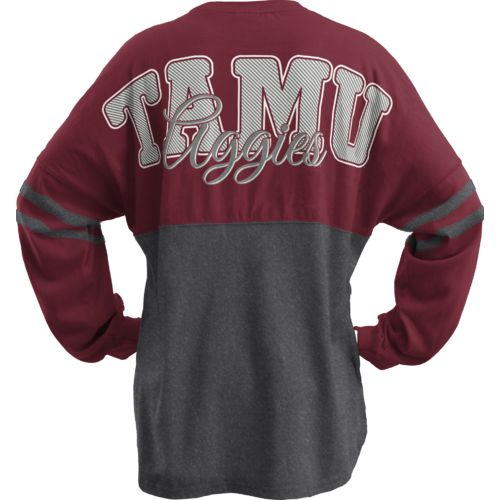 Three Squared Juniors' Texas A&M University Varsity Script Logo Sweeper T-shirt