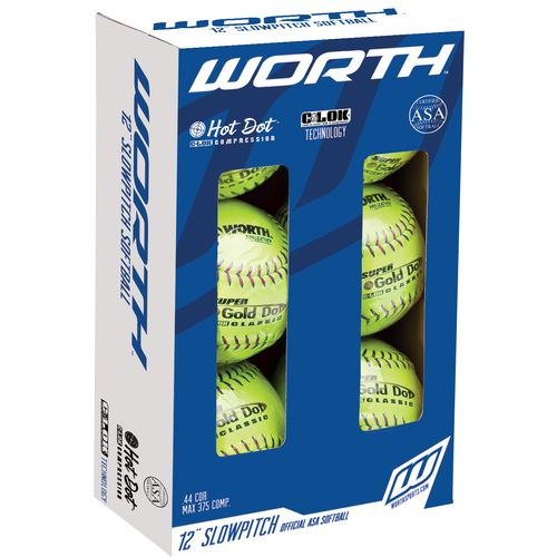 "Worth® ProTac 12"" ASA Slow-Pitch Softballs 6-Pack"