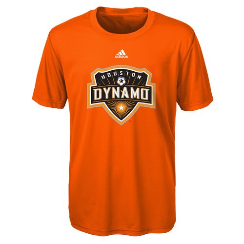 adidas Boys' Houston Dynamo climalite Primary Logo Short Sleeve Crew Neck T-shirt