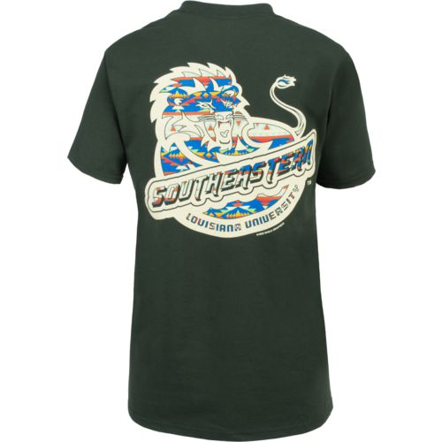 New World Graphics Women's Southeastern Louisiana University Logo Aztec T-shirt