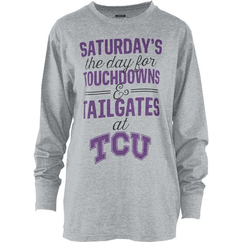 Three Squared Juniors' Texas Christian University Touchdowns and Tailgates T-shirt