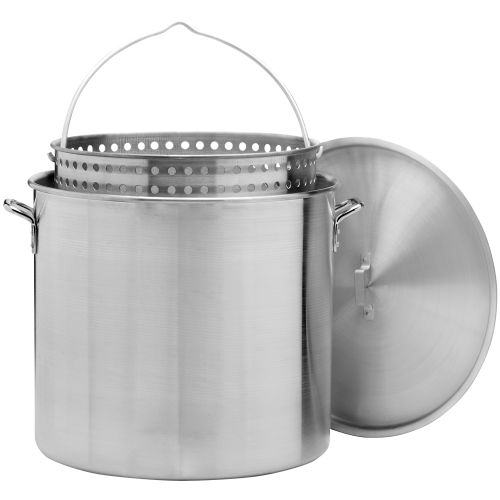 Outdoor gourmet qt aluminum pot with strainer academy