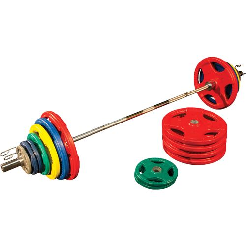 Body-Solid 500 lb. Colored Rubber Grip Olympic Plate Set - view number 1