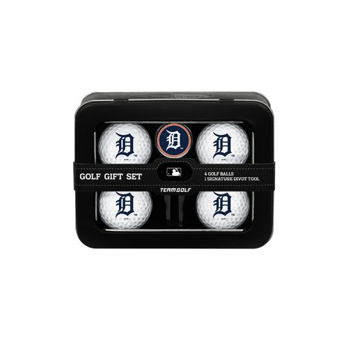 Team Golf Detroit Tigers 4-Ball Tin Gift Set