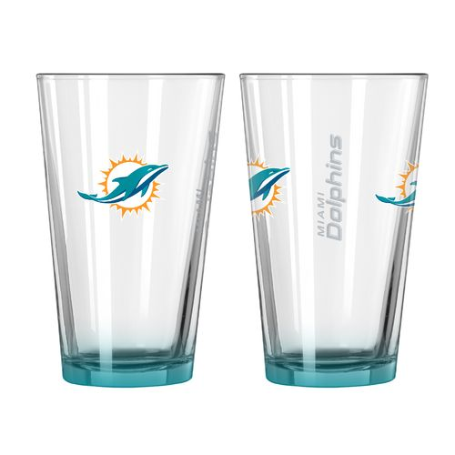 Boelter Brands Miami Dolphins Elite 16 oz. Pint Glasses 2-Pack