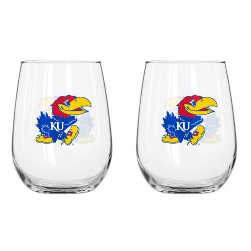 Boelter Brands University of Kansas 16 oz. Curved Beverage Glasses 2-Pack