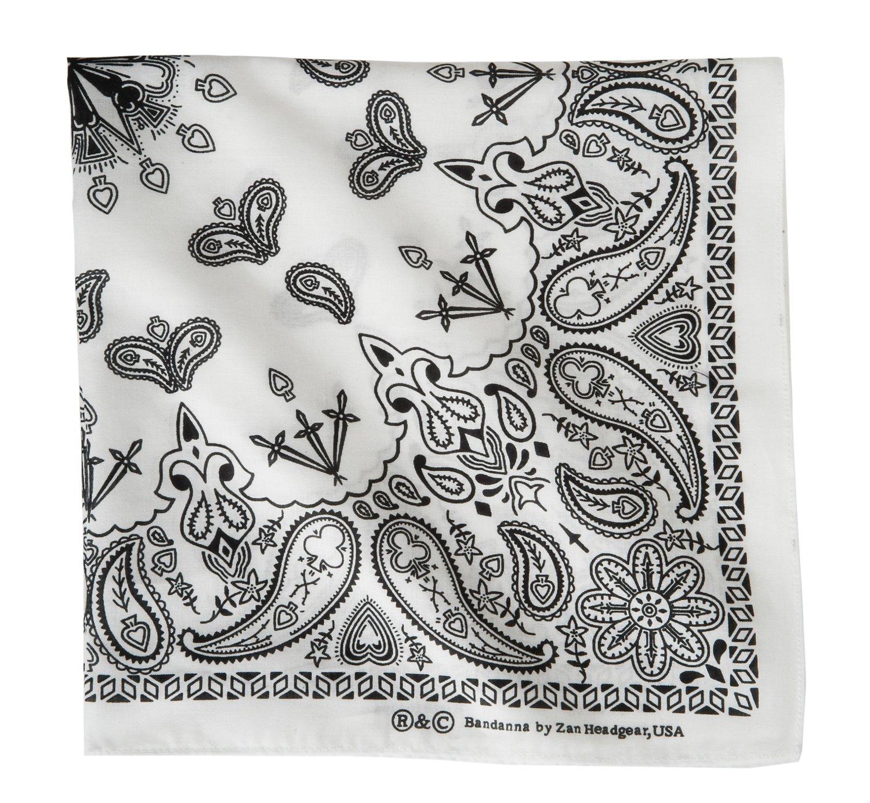 ZANHeadgear® White Paisley Premium Bandanna