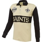 NFL Men's New Orleans Saints Wordmark Rugby Long Sleeve Polo Shirt