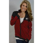 Glitter Gear Women's University of Georgia Campus Full Zip Striped Sweater