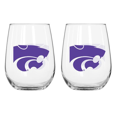 Boelter Brands Kansas State University 16 oz. Curved Beverage Glasses 2-Pack