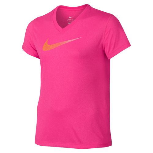 Nike Girls' Legend Swoosh V-neck Fill Short Sleeve T-shirt