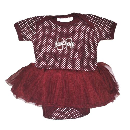 Two Feet Ahead Infant Girls' Mississippi State University Pin Dot Tutu Creeper