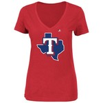 Majestic Women's Texas Rangers Alternate Logo V-neck T-shirt
