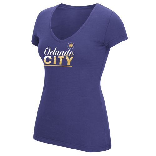 adidas Women's Orlando City SC Slant Line Repeat V-neck T-shirt
