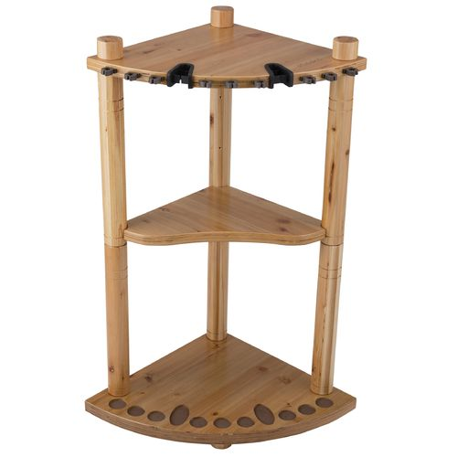 Rush Creek 13-Rod Wood Corner Storage Rack