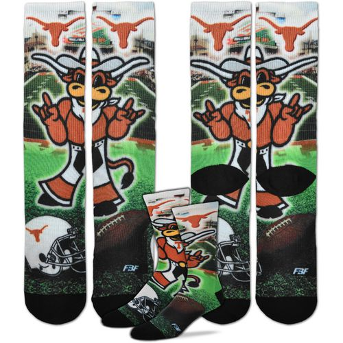 For Bare Feet Men's University of Texas Mascot Montage Sublimated Crew Socks
