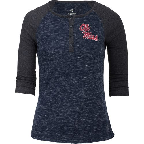 Colosseum Athletics Women's University of Mississippi Slopestyle 3/4 Sleeve Henley