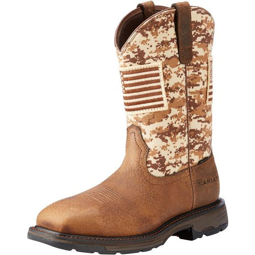 Display product reviews for Ariat Men's WorkHog Patriot Camo Safety Toe Wellington Work Boots