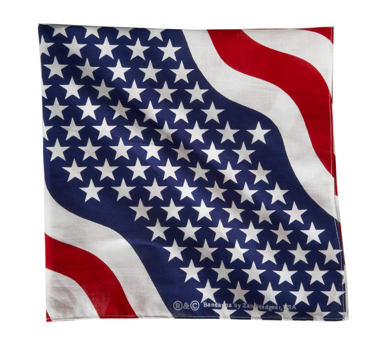 ZANHeadgear® Wavy American Flag Premium Bandanna