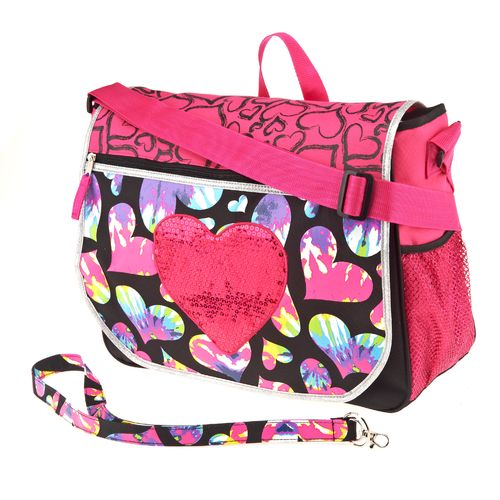 A. D. Sutton Girls' Glitter Tie-Dye Hearts Messenger Bag