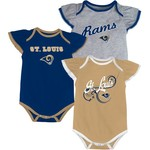 NFL Infant Girls' St. Louis Rams Foldover Neck Bodysuits 3-Pack