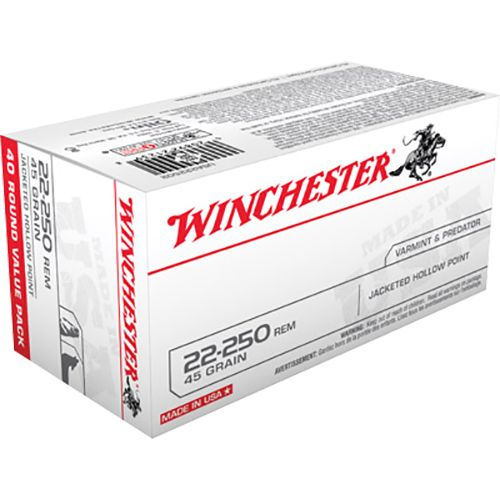 Winchester Best Value USA .22 - 250 Remington 45-Grain JHP Centerfire Rifle Ammunition