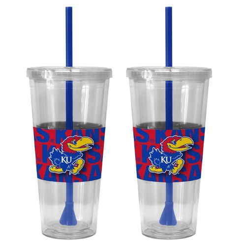 Boelter Brands University of Kansas Bold Neo Sleeve 22 oz. Straw Tumblers 2-Pack