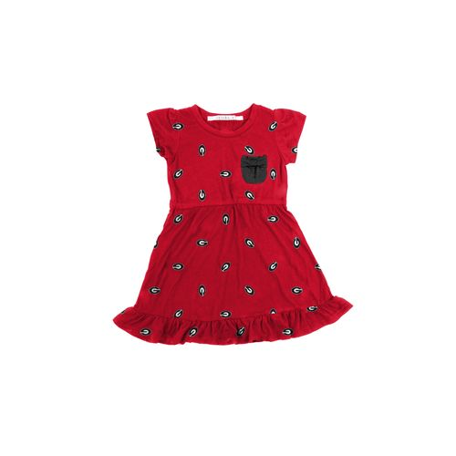 Chicka-d Toddler Girls' University of Georgia Cap Sleeve Ruffle Dress