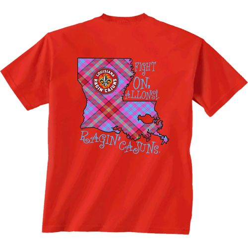 New World Graphics Women's University of Louisiana at Lafayette Bright Plaid T-shirt