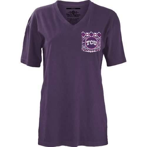 Three Squared Juniors' Texas Christian University Moonface Vee T-shirt - view number 2