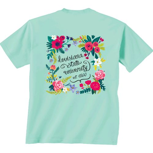 New World Graphics Women's Louisiana State University Comfort Color Circle Flowers T-shirt
