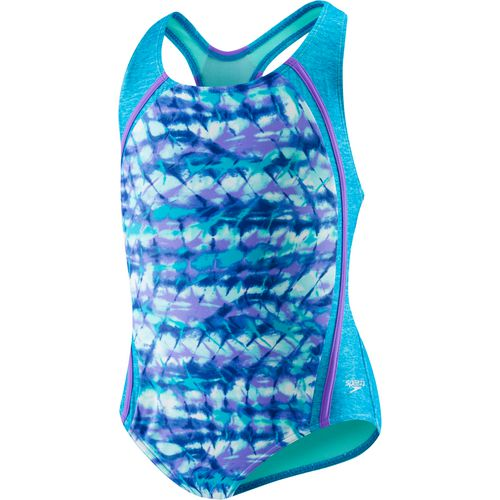 Speedo Girls' Printed Sport Splice 1-Piece Swimsuit