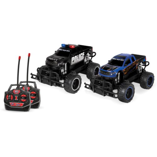 World Tech Toys Ford F-150 SVT Raptor Police Pursuit RTR Electric RC Monster Truck Set
