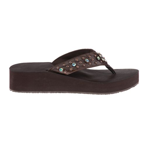 Gotta Flurt Women's Diamond Collection Mid-High Thong Wedge Sandals