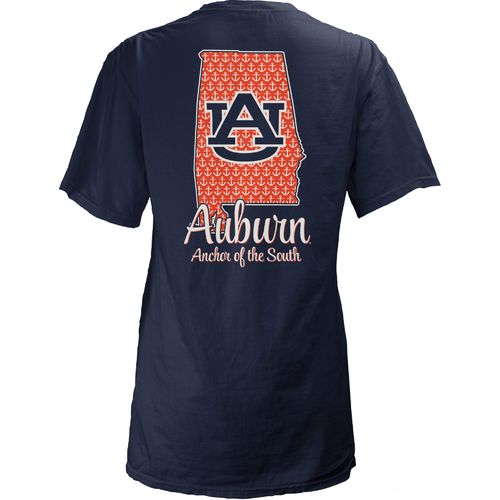 Three Squared Juniors' Auburn University State Monogram Anchor T-shirt