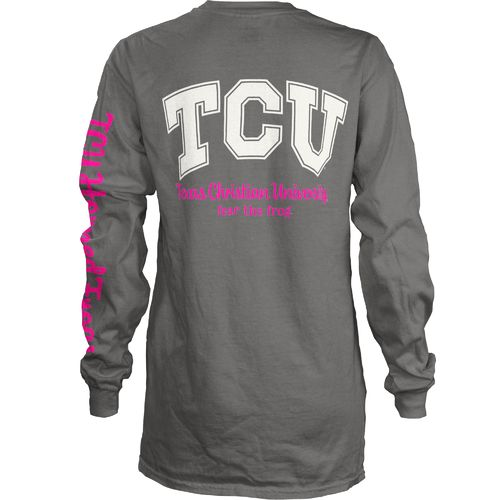 Three Squared Juniors' Texas Christian University Cynthia Pocketed Long Sleeve T-shirt