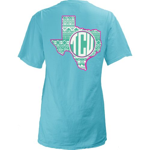 Three Squared Juniors' Texas Christian University Moonface Vee T-shirt