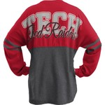 Three Squared Juniors' Texas Tech University Varsity Script Logo Sweeper T-shirt