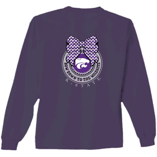 New World Graphics Women's Kansas State University Ribbon Bow Long Sleeve T-shirt