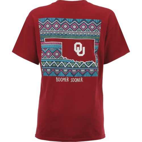 New World Graphics Women's University of Oklahoma Terrain State T-shirt