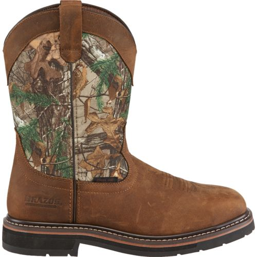 Brazos Men's Bandero Camo Square Steel-Toe Wellington Work Boots