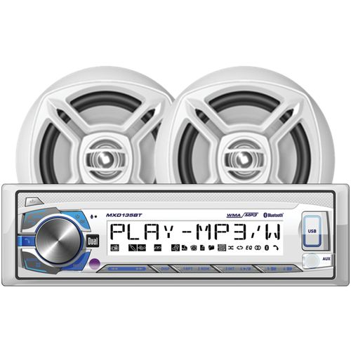"Dual Marine Single-DIN In-Dash Digital Media Receiver System with Two 6-1/2"" speakers"