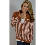 Glitter Gear Women's University of Texas Campus Full Zip Striped Sweater