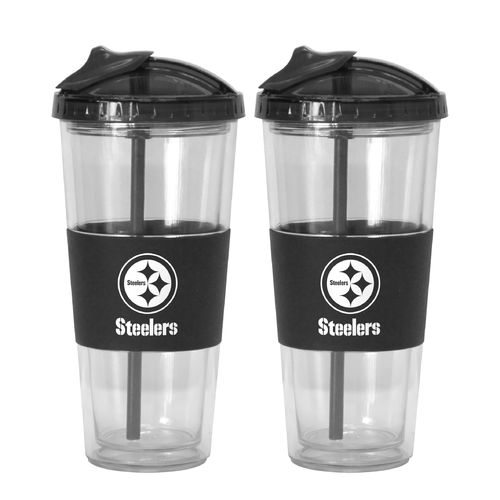 Boelter Brands Pittsburgh Steelers 22 oz. No-Spill Straw Tumblers 2-Pack