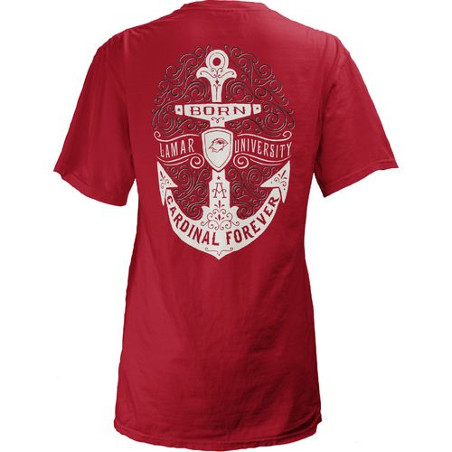 Three Squared Juniors' Lamar University Anchor Flourish V-neck T-shirt