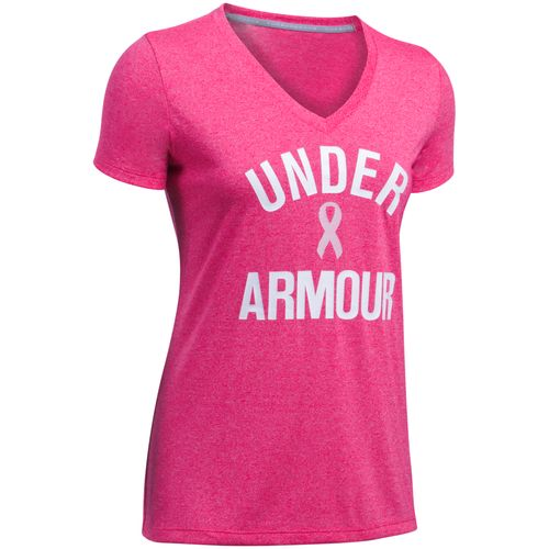 Under Armour Women's Power in Pink Twist Short Sleeve V-neck Top